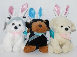 Puppy Dogs Plush Stuffed THREE Animals Easter Bunny Ears Abo
