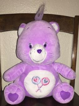 "Purple Care Bears Plush LARGE 16"" Stuffed Animal BIG Purpl"