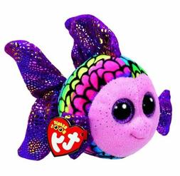 "Rainbow Fish 6"" Ty Beanie Boos Puppy Glitter Big Eyes Plush"