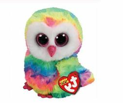 "Rainbow Owl 6"" Ty Beanie Boos Puppy Glitter Big Eyes Plush S"