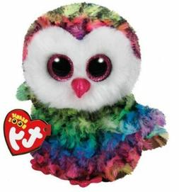 """Rainbow Owl Bird 6"""" Ty Beanie Boos Puppy Glitter Big Eyes Pl"""