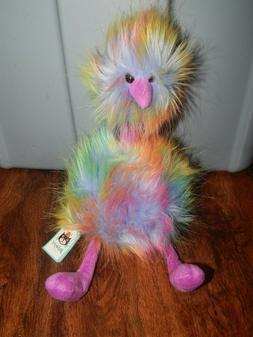 "Jellycat Rainbow Pompom 13"" Plush Fluffy Colorful Emu Ostric"