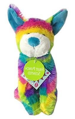Rainbow Tie Dye Plush Stuffed Animal Dog Fruit Punch Scented