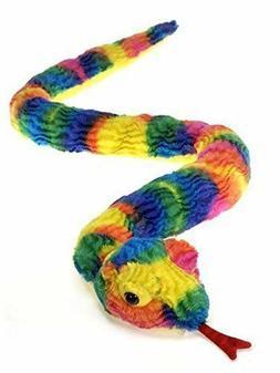 Rainbow Tie Dye Snake Plush Stuffed Animal Toy by Fiesta Toy