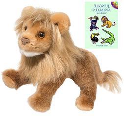 "Douglas Raja Lion, Small 15"" Plush with Jungle Animals Stick"