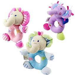 Katedy 3pcs Baby Rattle Toy Hand Bells Baby Hand Grasp Handl
