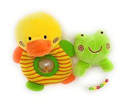 2pcs Newborn Infant Baby Rattles Ring Plush Toys Handbell Gr