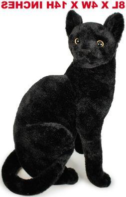 Realistic Black Cat Pet Soft Plush, Kids And Children Simula