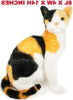 Realistic Tricolor Cat Plush, Kids And Children Simulation S