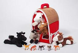 """SFS Gifts 12"""" Red Plush Horse Barn with 5 Stuffed Animal Hor"""