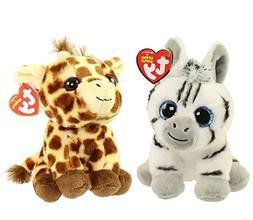 "Set of 2 Ty 6"" Regular Beanie Babies PEACHES The Giraffe and"