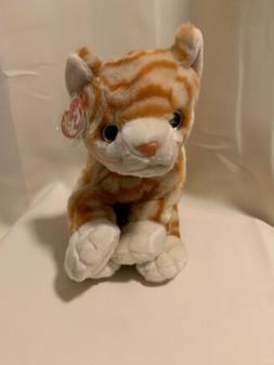 "TY Retired Beanie Buddies 11"" Large Amber Orange Striped Cat"