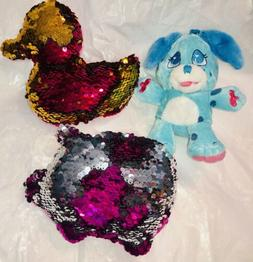 REVERSIBLE SEQUIN PLUSH STUFFED ANIMALS CHANGES FROM PINK TO
