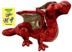 "Ruby Red Dragon 15"" Plush with Dragons Book by Douglas"
