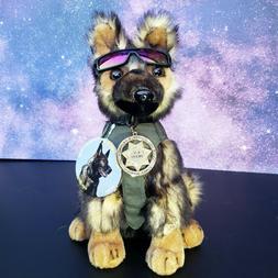 Sable German Shepherd Plush Police Dog w K9 Badge Mirrored S