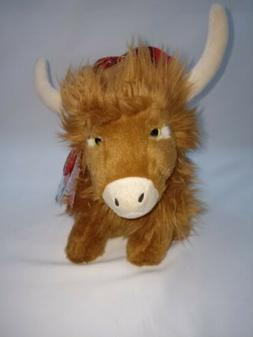 Keel Toys Scottish Highland Cow Tartan Hat Soft Plush Cuddly