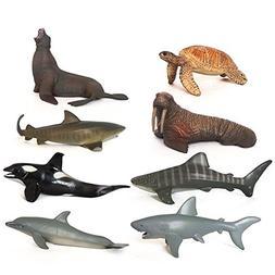 Sea Animals Toys, Kimkoala 8 Pieces Different Plastic Marine