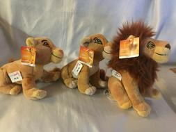 """Set 3 Mufasa Nala Simba 8"""" Plush Stuffed Lion King Disney Wi"""