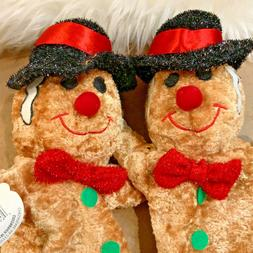 set of 2 Christmas Hand Puppets Stuffed Animals Gingerbread