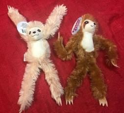 Set Of 2 Fuzzy Friends Plush Sloth - Stuffed Animal Toy