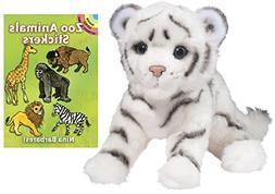 "Douglas Silky White Tiger Cub 12"" Plush with Zoo Animals Sti"