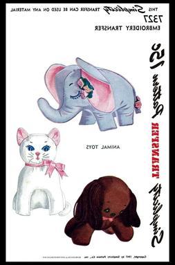 Simplicity #7327 ~3~ Stuffed Animals TOYS Fabric Pattern Ele