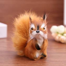 Simulation Fur Squirrel Plush Stuffed Doll Animal Toy Childr