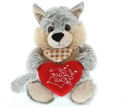 DolliBu Sitting Wolf Size: 9 inch I Love You Valentines Stuf