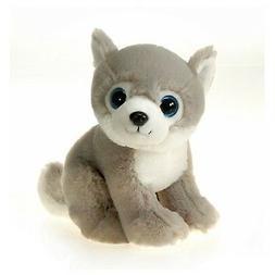 "9"" Sitting Wolf with Big Eyes Plush Stuffed Animal Toy by Fi"
