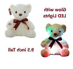 Small Teddy Bear Stuffed Animal Cushion Pillow Color Glowing