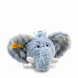 "Steiff Soft and Cuddly Blue Elephant - 5"" Plush Toy Rattle -"