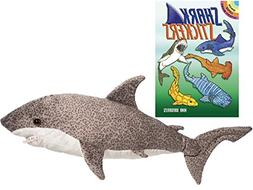 "Splatter Tiger Shark 21"" Plush with Sharks Sticker Book by D"