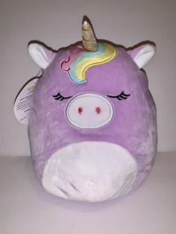 Squishmallow 9 inch Purple Rainbow Unicorn Kellytoy NEW Plus