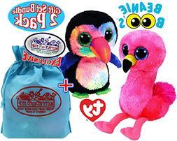 "TY Beanie Boos ""Tropical Birds"" Beaks  & Gilda  Gift Set Bun"