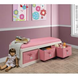 Kid's Storage Bench with Cushion and Three Bins in White wit