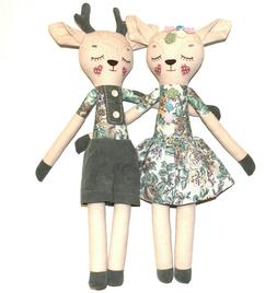 "Handmade Stuffed 20"" Animals 2 Deer Figurine Boy Girl Cotton"