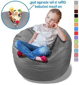 BeanBob Stuffed Animal Storage Bean Bag Chair in Grey - 2.5f