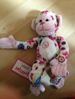 Douglas Stuffed Animal Cuddle Toy Monkey Plush Pink and Whit
