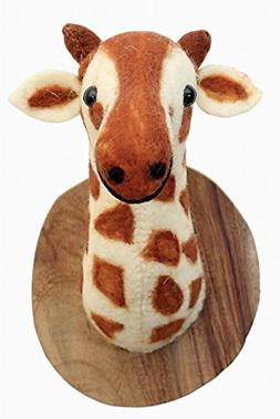 Karma Living Stuffed Animal Felted Wool Giraffe Head Trophy