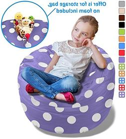 BeanBob Stuffed Animal Storage Bean Bag Chair in Purple w/ P
