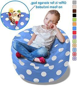 BeanBob Stuffed Animal Storage Bean Bag Chair in Blue w/ Pol