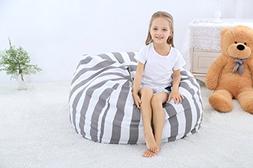 WOYAGE Stuffed Animal Storage Bean Bag Cover Soft Toy Bag Ki
