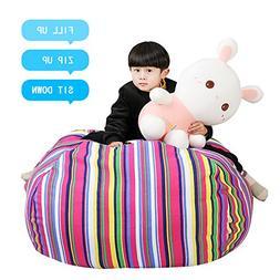 Stuffed Animal Storage Kids' Bean Bag Chair - Cotton Canvas