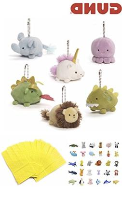 Stuffed Animals Plush Bundle Set of 6 Animal Clips Keychains