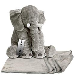 CHICVITA Gray Large Stuffed Elephant Toys Animals Plush Back
