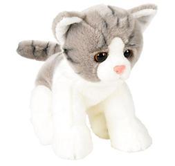 """Wildlife Tree 12"""" Stuffed Gray and White Tabby Kitten Plush"""