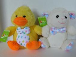 Stuffed Lamb & Chick Plush Animals 7.5 Inch Easter Baby Farm