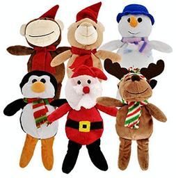Christmas Stuffed Plush Animals, Santa and Snowman Toys, 6-c