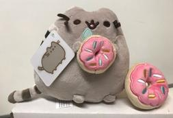 "Gund Stuffed Pusheen Cat 6"" Eating Donut With Donut Keychain"
