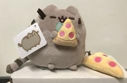 "Gund Stuffed Pusheen Cat 6"" Eating Pizza With Pizza Keychain"